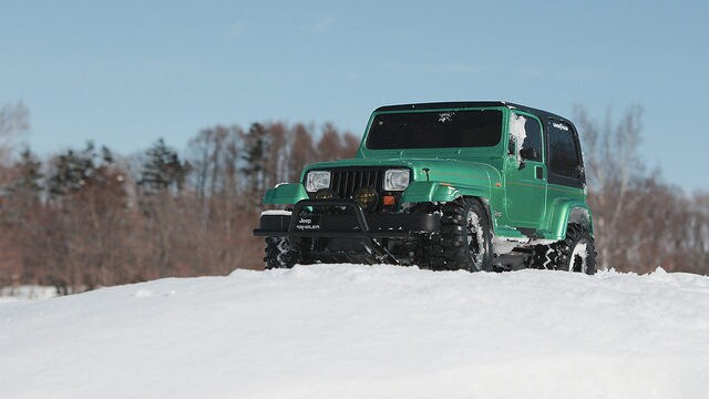 Jeep Wrangler on Snow