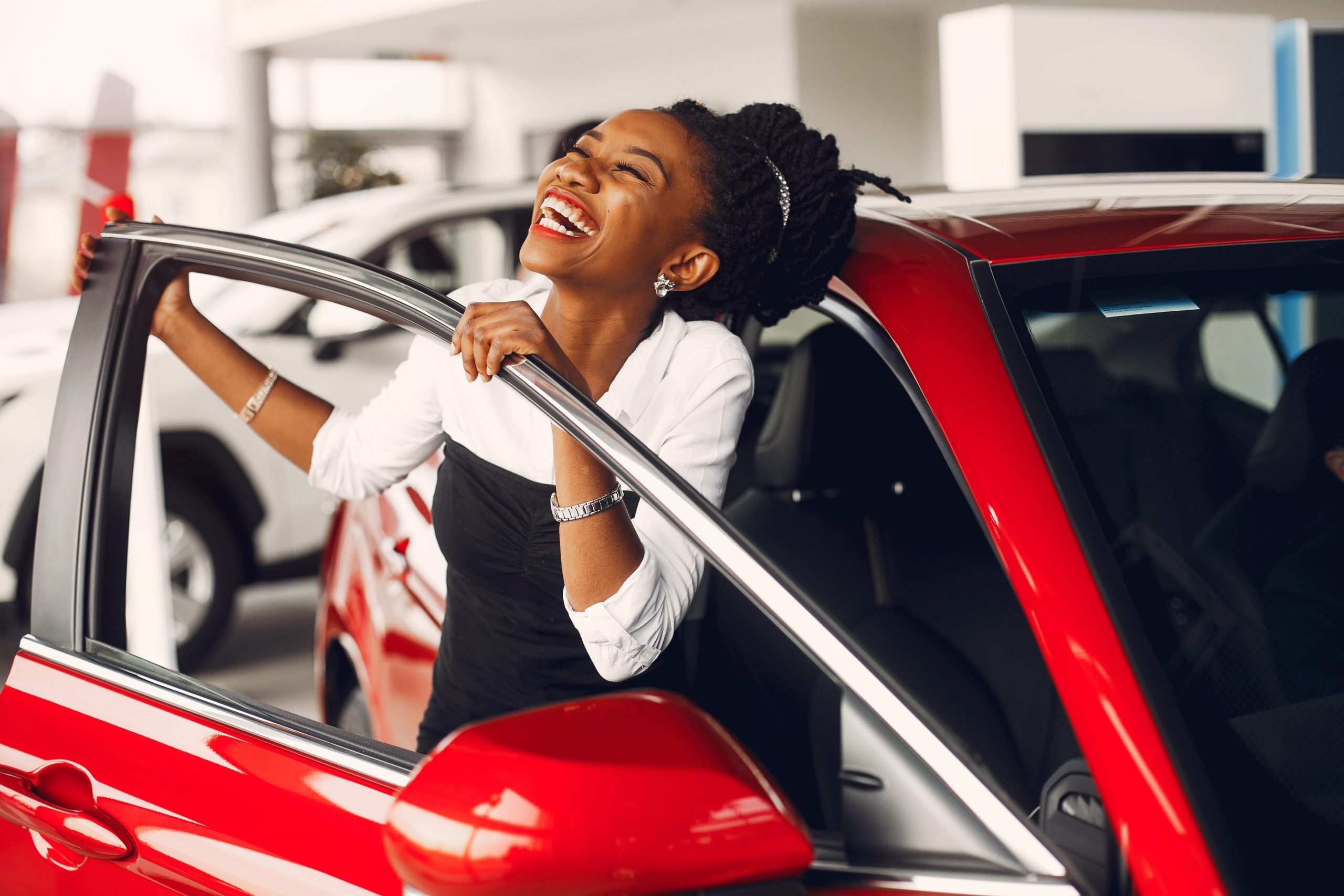 Woman buying the car.